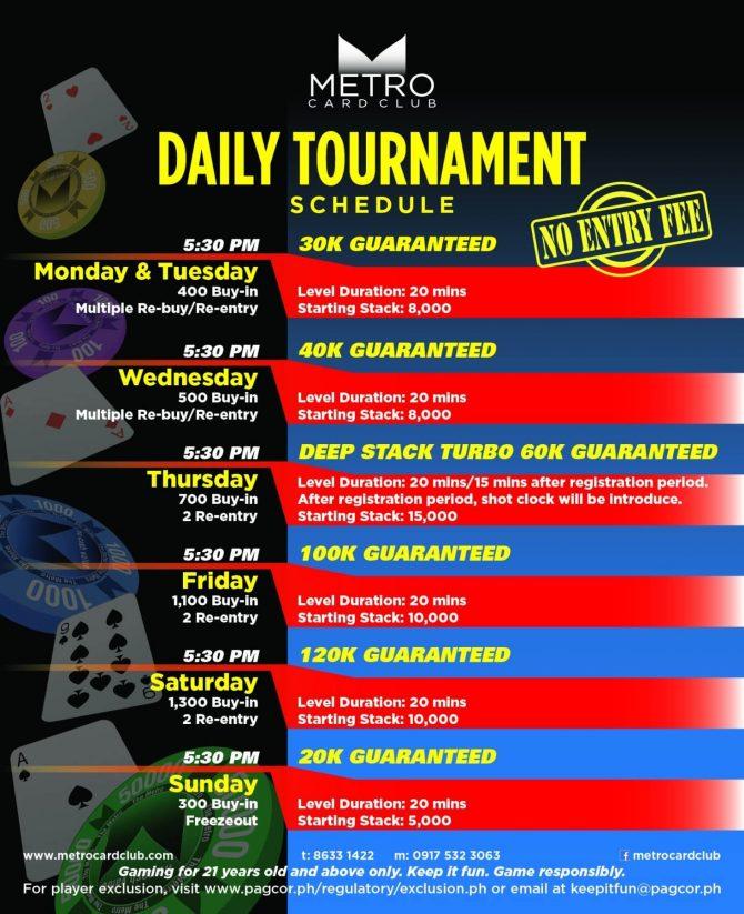 Mtro Card Club Daily Tournament Schedule