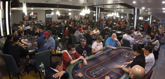 Poker tables at the Metro Card Club