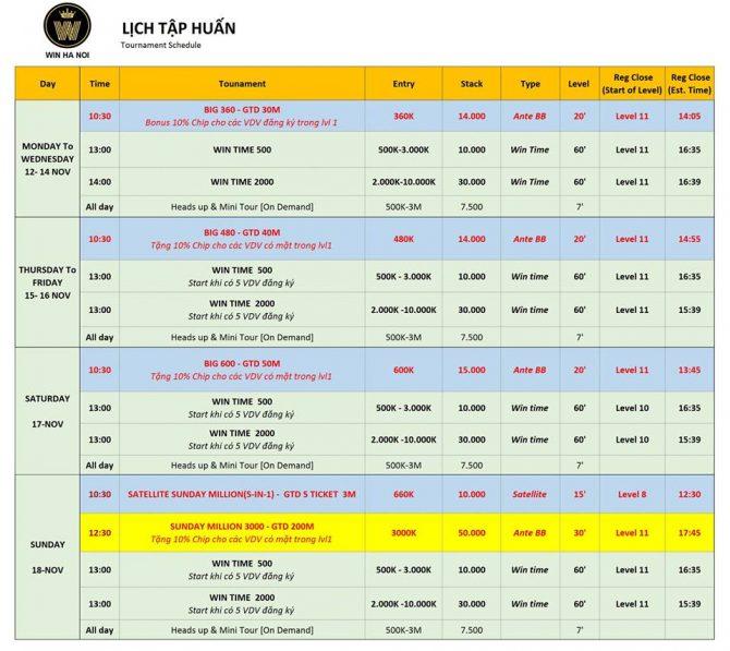 WIN Poker Club tournament schedule