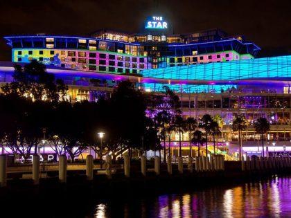 The Star Sydney building at night