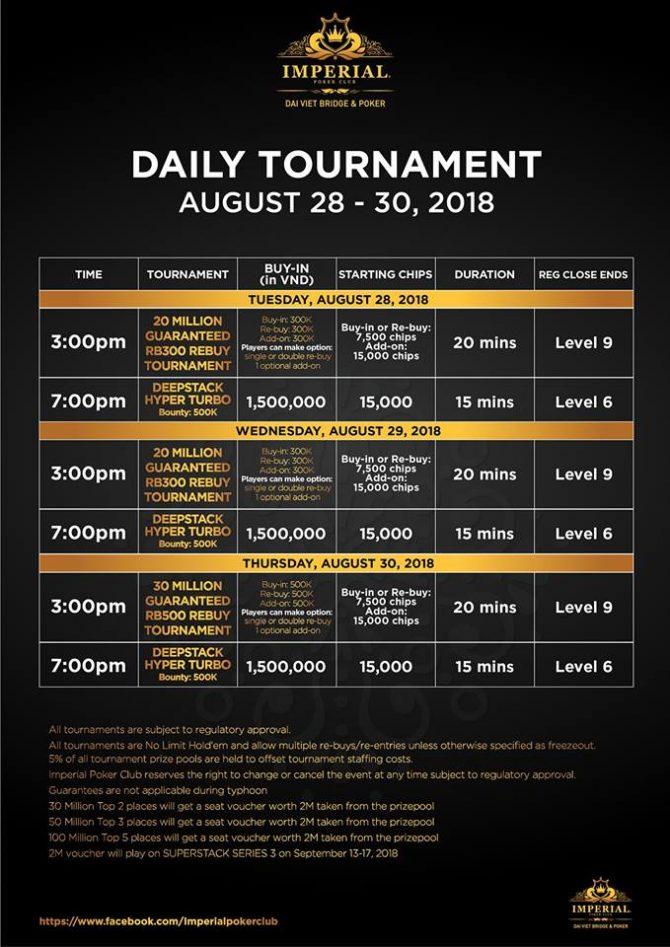 Imperial poker Club tournaments schedule