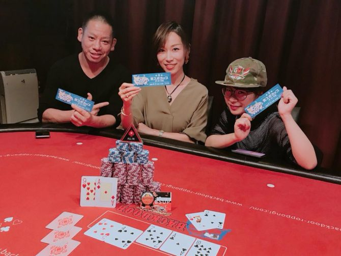 Winners with their prizes at Backdoor Poker Tokyo