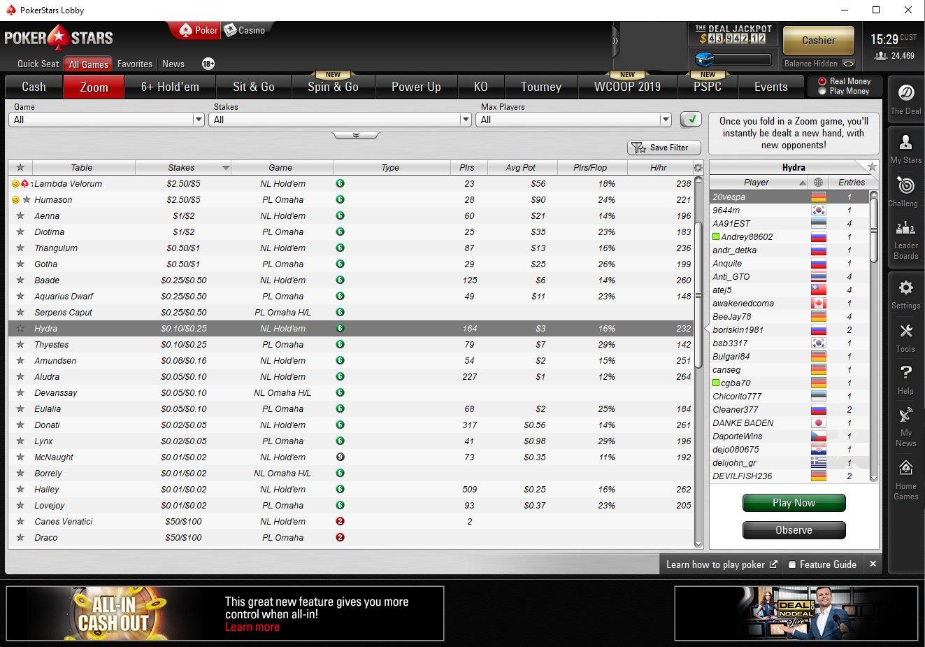 pokerstars zoom lobby