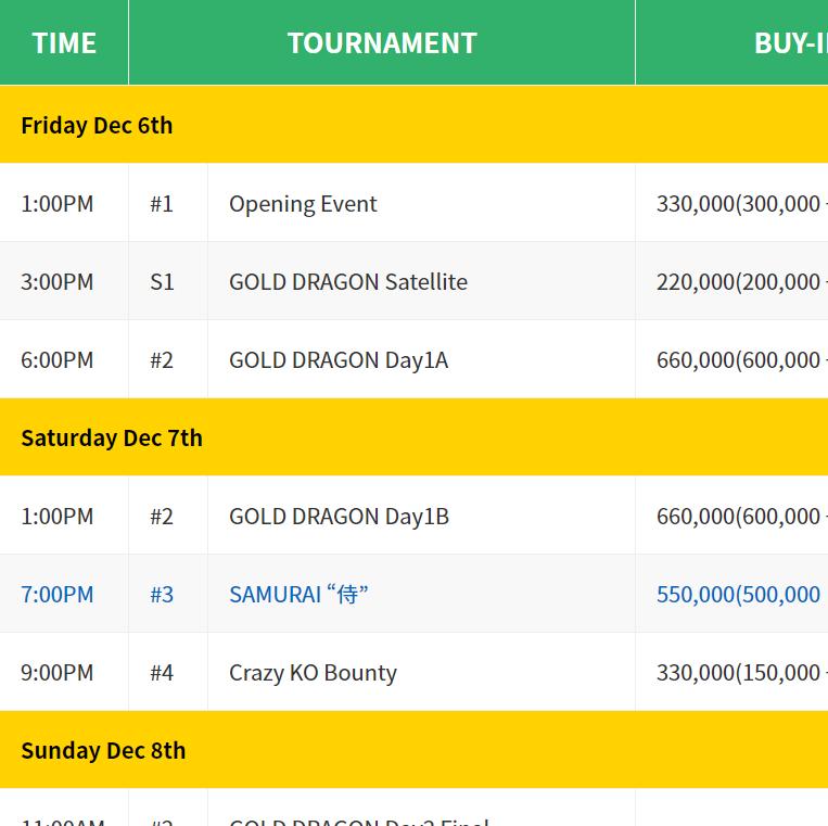 All Japan Poker Championship (AJPC) Asian Circuit – Festival 2019 Schedule