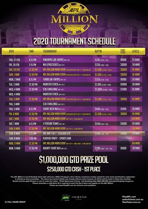Australia Poker League APL Million 2020 Schedule