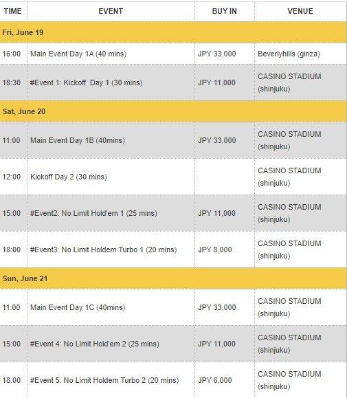 Asian Poker Tour (APT) Japan Tokyo 2020 June Schedule (POSTPONED)