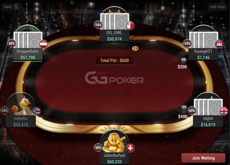 GGPoker table