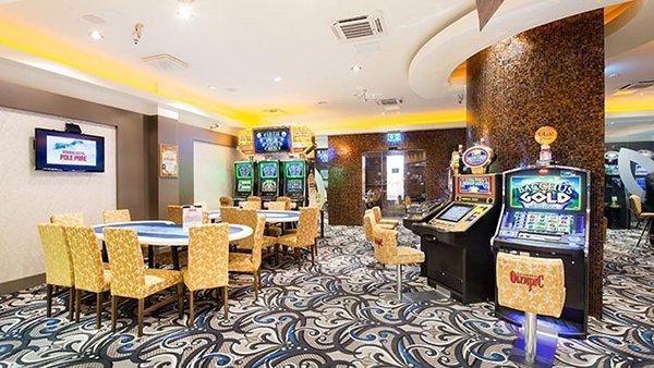 Poker tables and gaming slots at Olympic Casino Narva