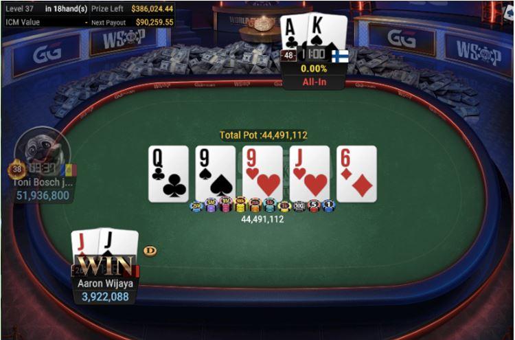 WSOP 38 600 Monster Stack NLHE 6 Handed full house for winner Wijaya