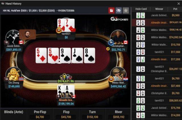 Screenshot of an online poker game