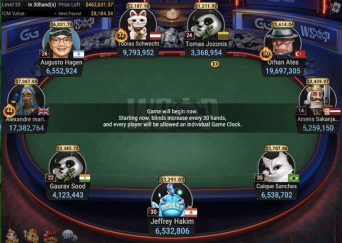WSOP 60 525 Bounty NLH 6 Handed final table