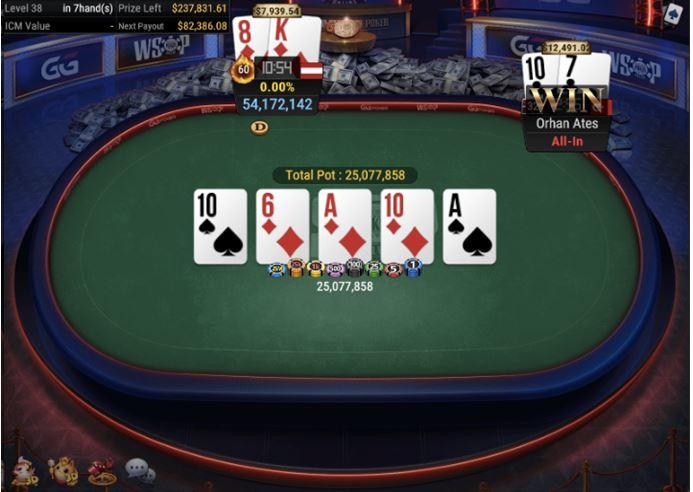 WSOP 60 525 Bounty NLH 6 Handed full house for winner Ates