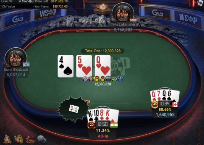 WSOP 62 1500 Pot Limit Omaha three of a kind for winner Ruben