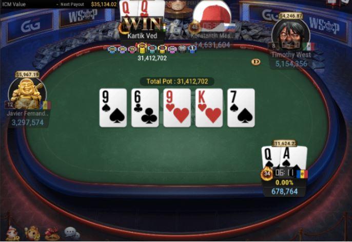WSOP 64 840 Turbo Bounty NLH pair of Queens for winner Ved