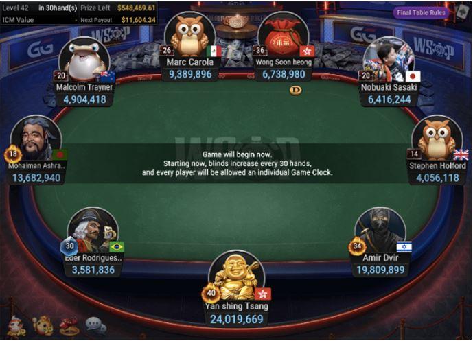 WSOP 68 500 Deepstack NLH Asia final table