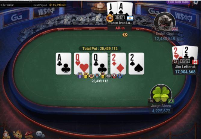WSOP 73 1K No Limit Hold'em 6 Handed four of a kind for winner Lefteruk