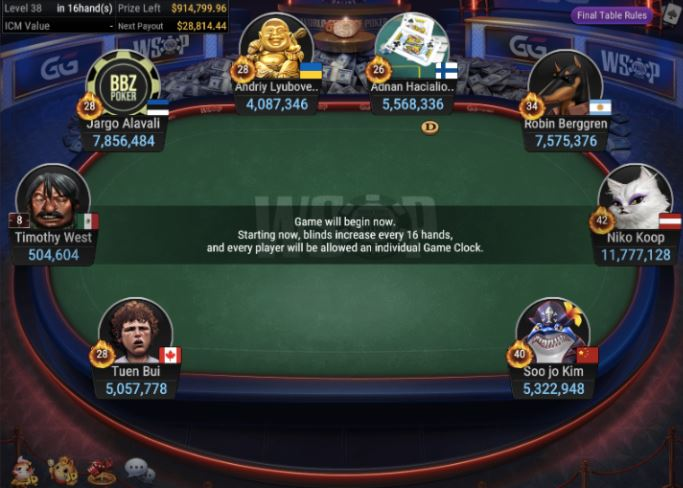 WSOP 78 1K Turbo NLH 8 Handed final table