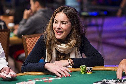 Sasha Barrese playing poker laughing