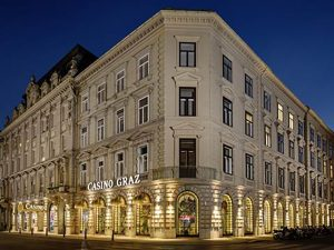 Casino Graz building at night