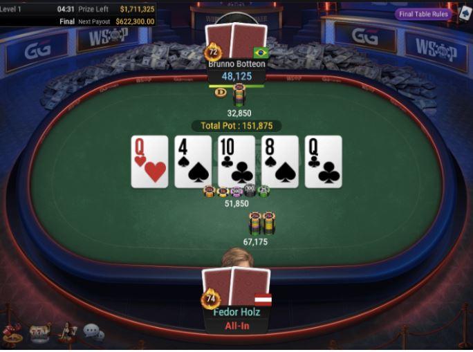 WSOP 79 25000 Heads Up NLHE Fedor Holz vs Brunno Botteon