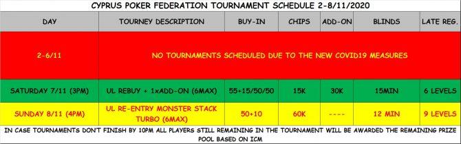 Cyprus Poker Federation tournament schedule